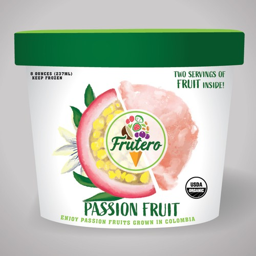Passion fruit mixed with icecream