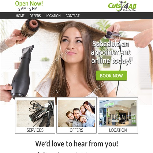 Inviting Page for Hair Salon