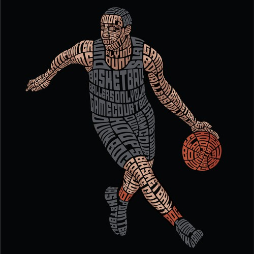 Basketball Player Typography Illustration