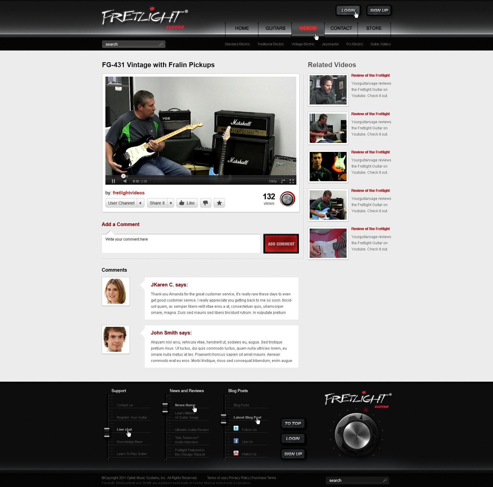 Fretlight Guitar needs a new website design