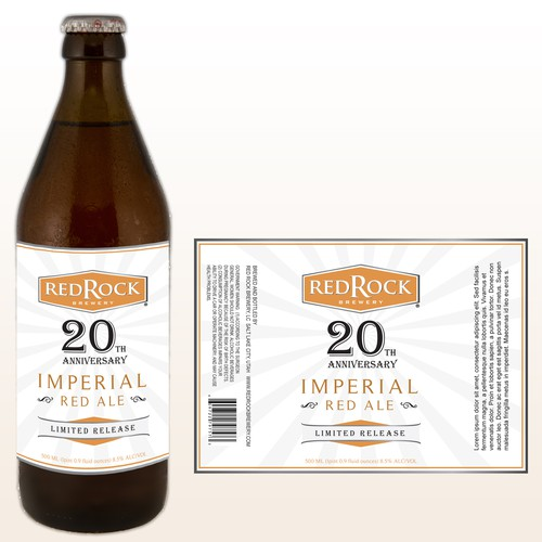 Beer Label for Red Rock Brewing  20th Anniversary