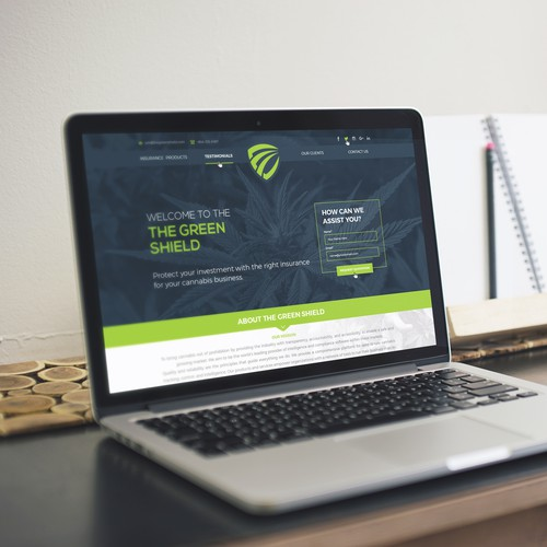 Landing Web Page for The Green Shield