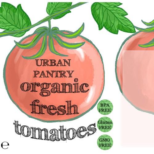 Design concept for Urban Pantry organic tin tomato