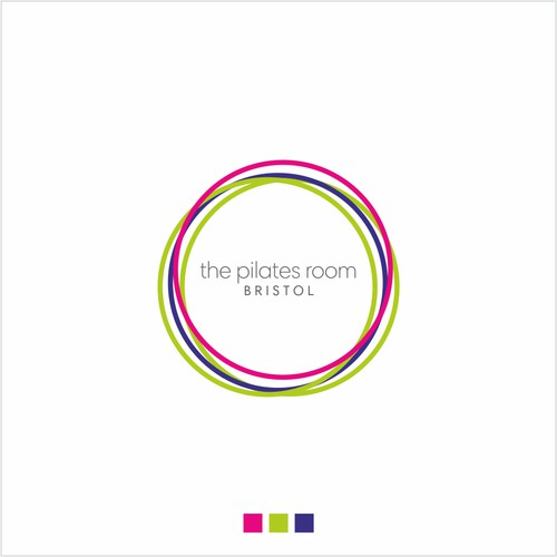 simple, colourful logo for a pilates studio