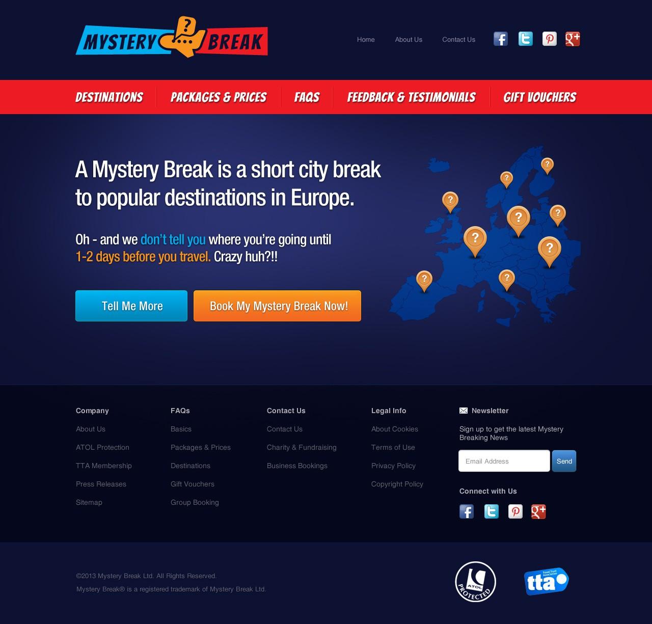 New website design wanted for Mystery Break