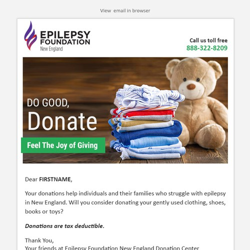 Email design to generate donations of gently used clothing and household goods.
