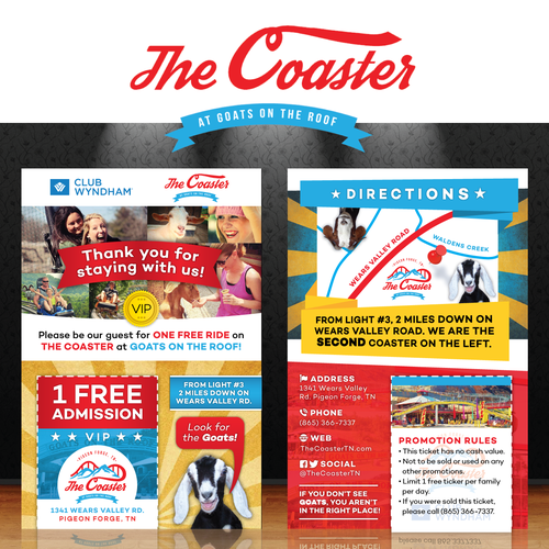 Fun free admission flyer design for The Coaster at Goats on the Roof
