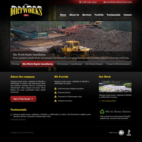 Web Page Design for MCE Dirtworks