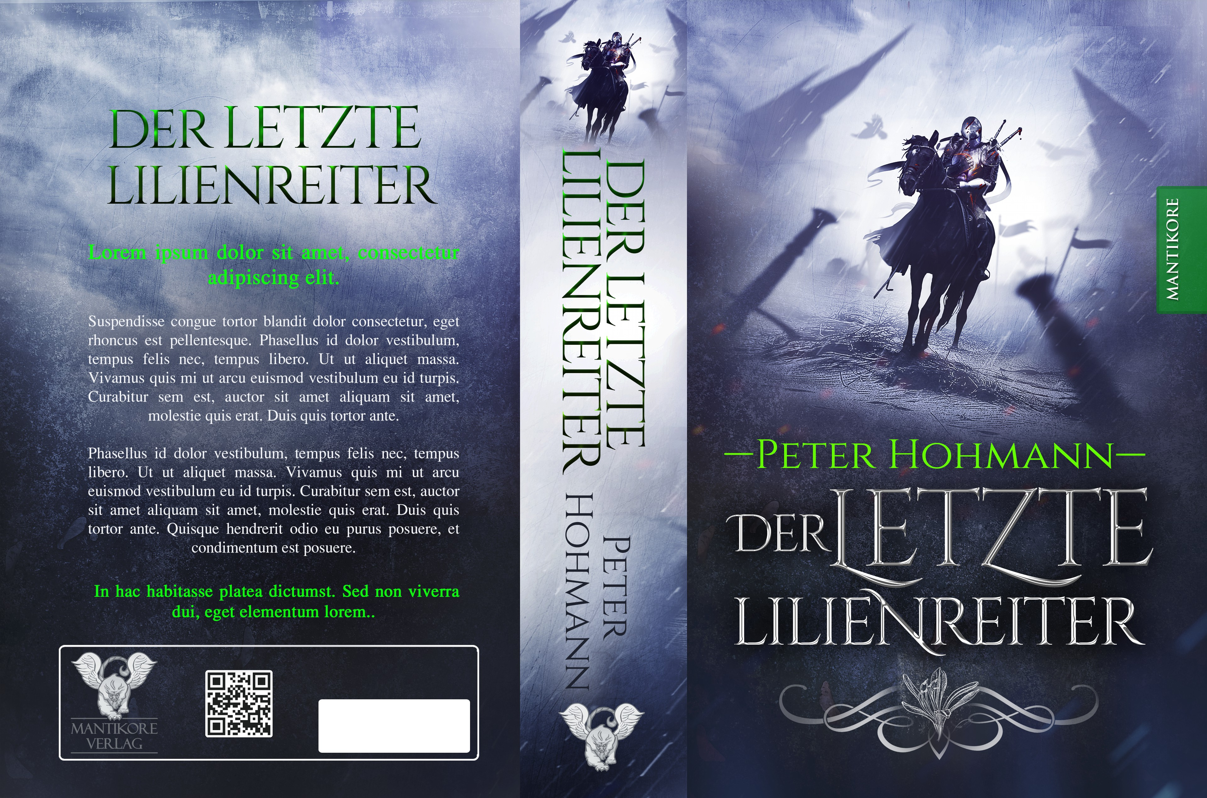 "Create an eye-catching cover for the Fantasy Novel ""LILIENREITER"" by Peter Hohmann"