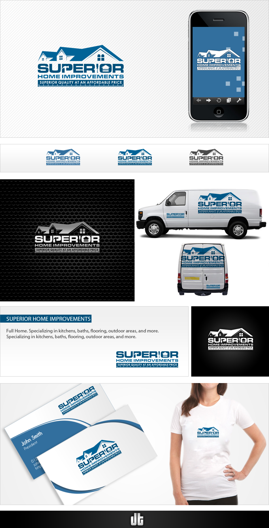 logo and business card for Superior Home Improvements, Inc.