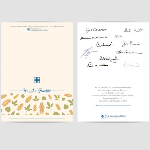 Corporate Thanksgiving Greeting Card Design