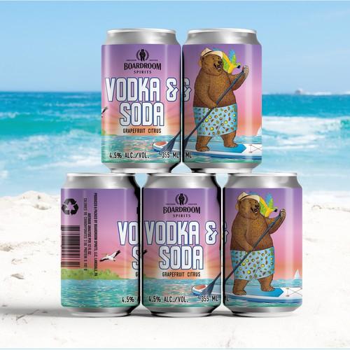 Label design for Vodka & Soda, Grapefruit Citrus