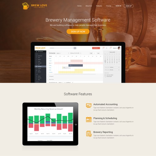 Landing page for Brewery Software