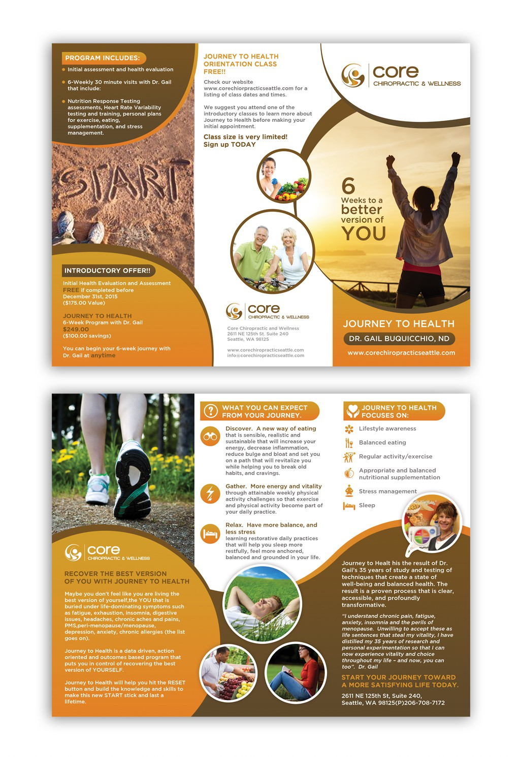 Create an inspiring brochure for people who want to improve their health and well-being.