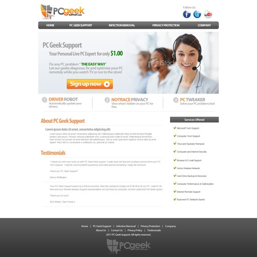 Create the next website design for PC Geek Support