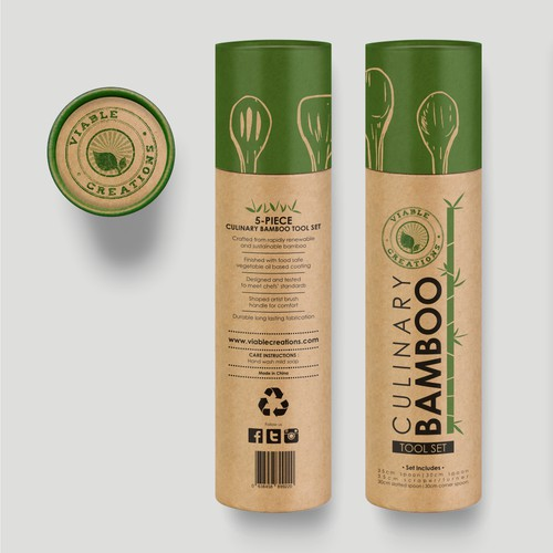 VIABLE CREATIONS - Culinary Bamboo Tool Set Cardboard Tube Packaging Design