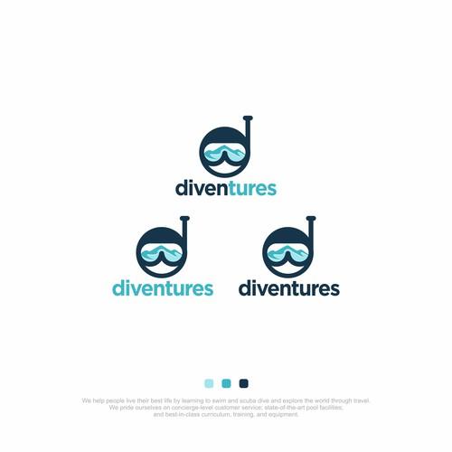 Aspirational logo for growing swim/scuba/travel company