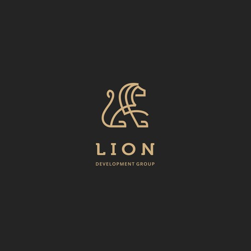 Iconic lion logo for development group.