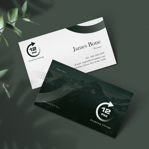 business card design for 12.pm company