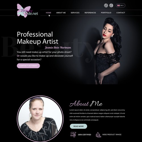 Contemporary Wordpress website for Beauty Makeup Artist