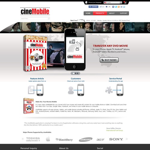 Create the next website design for cineMobile