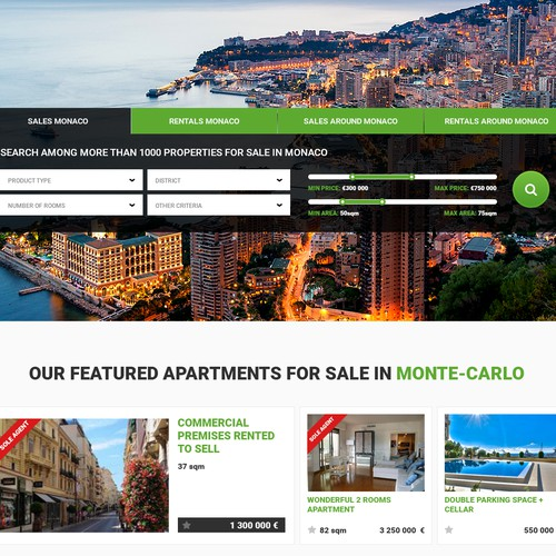 Redesign of the Monte-Carlo Real Estate Portal