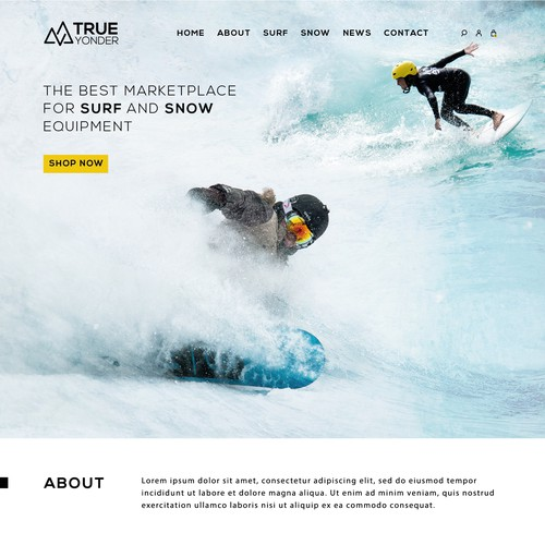 An adventurous online marketplace website for Snow and Surf adventure marketplace