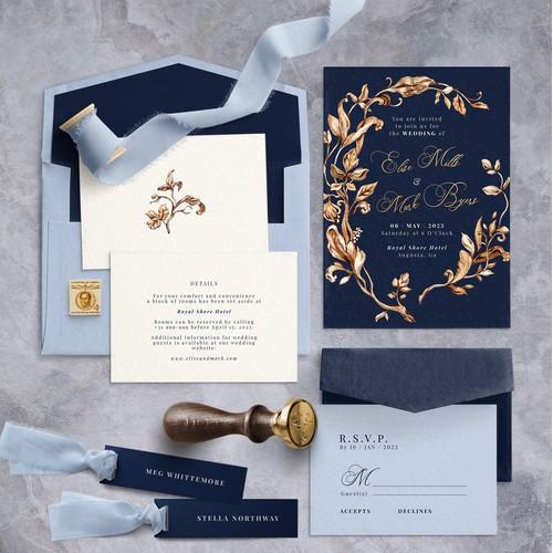 Golden Wreath Wedding Invitations