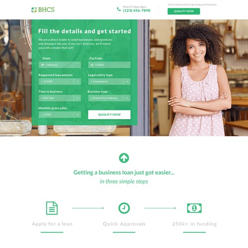 Landing page for a loan company