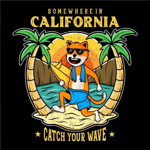 """Unisex vintage trendy tee for my new brand. Tee called """"Somewhere in California"""""""
