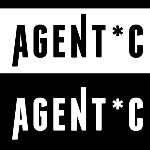 Create a sleek logo for female fronted electronica band, spy movie, sixties, sexy AGENT * C