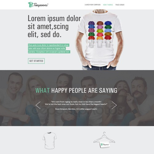 Create the front page of a t-shirt campaign website