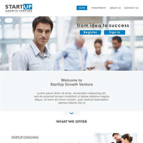 Logo and Web page design for StartUp Growth Venture