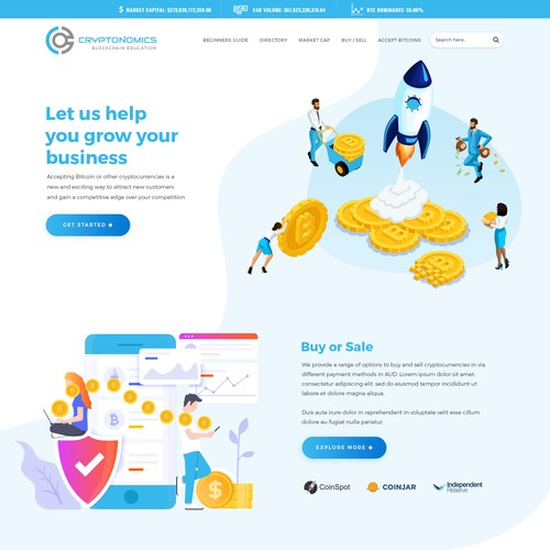 Homepage design for cryptocurrency education
