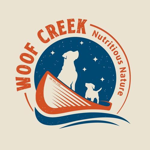 Pet treats and nutrition logo Woof Creek.