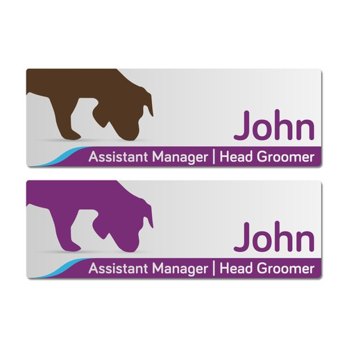 Name badge for a doggy daycare (75mm x 25mm)