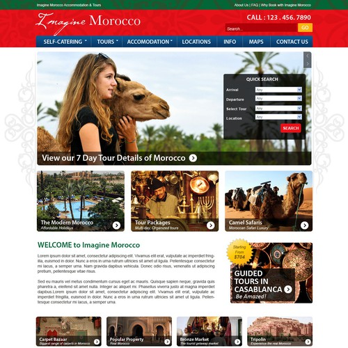 Web Design for a tourism website