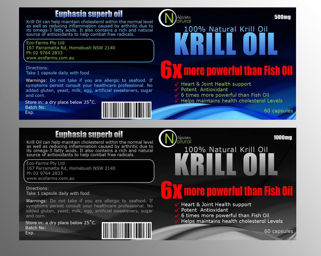Labels for Krill Oil (Nutritional Supplement)
