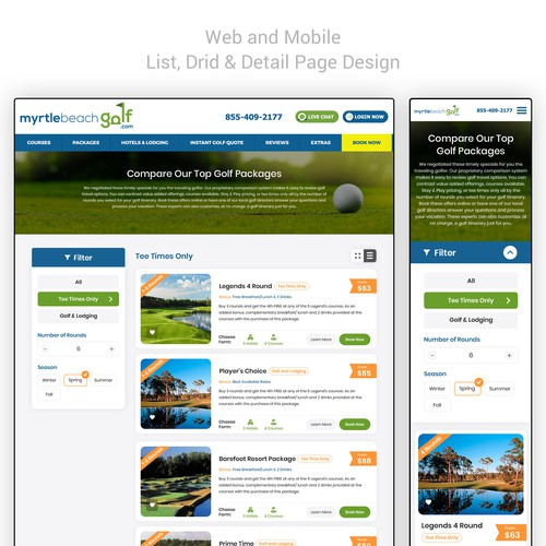 Golf internal web and mobile pages