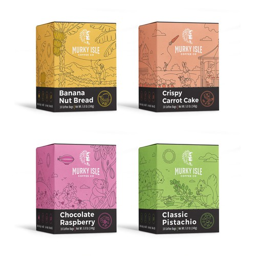 Set of illustrative packages for coffee company