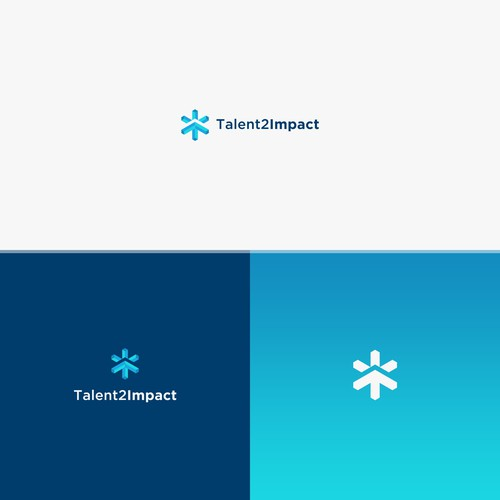 Combin stars and impact symbol concetpt for logo Talent2Impact, with impact symbols that point upward (growth / progress).