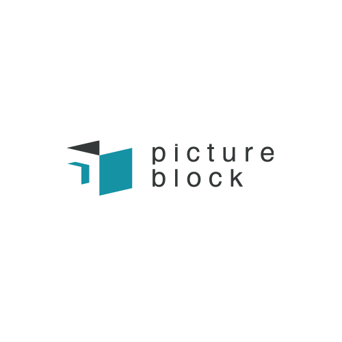 Negative space logo design for Picture Block