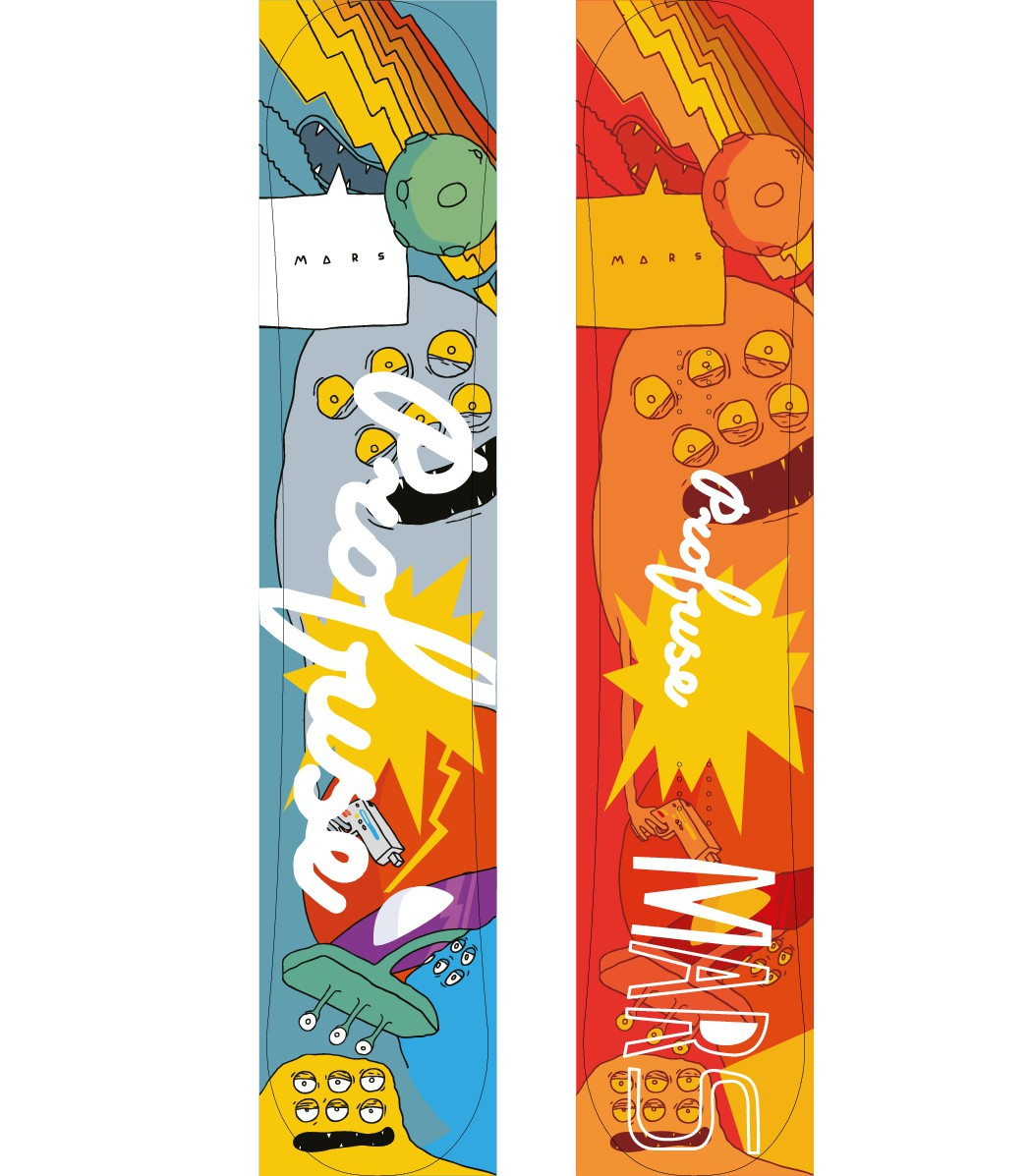 Energetic snowboard design to appeal to people loves snowboarding