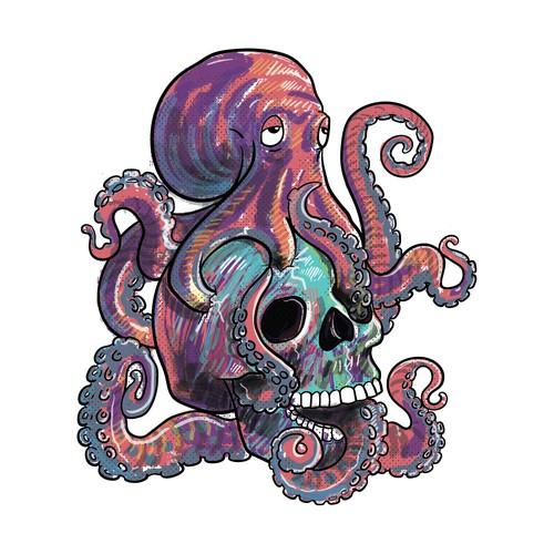 Octopus & Skull Illustration