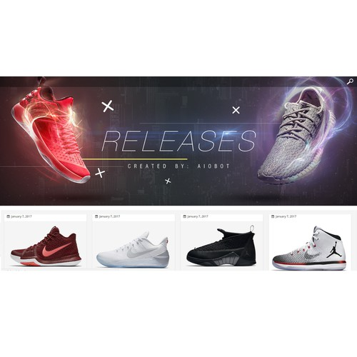Sneaker Release website Header design
