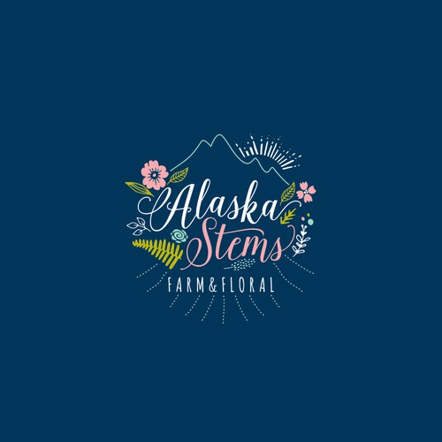 Create a logo for Alaskan sustainable cut flower farm and design studio
