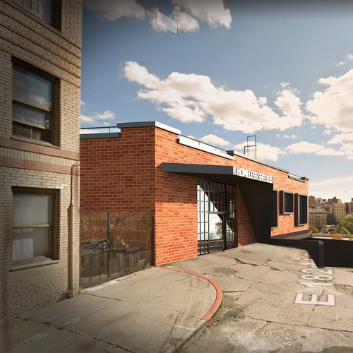 3D Model + Rendering +photo-montage of homeless shelter
