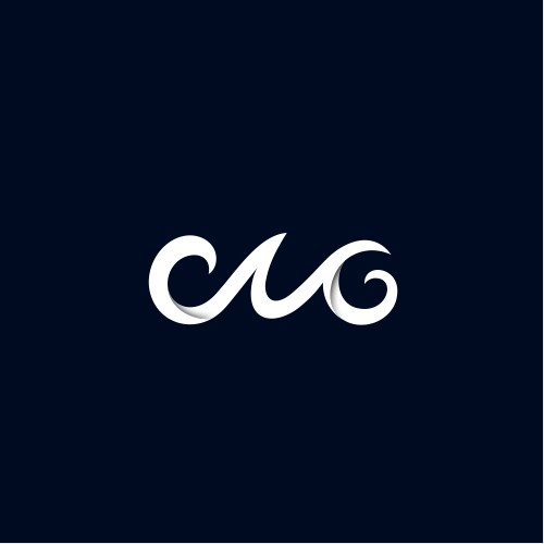the logo with the wave concept forms the initials CMG