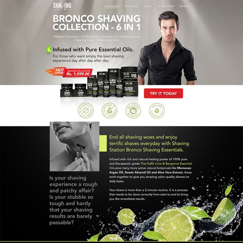natural shaving cosmetic landing page