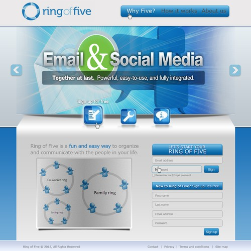 Web 2.0 website home page design for Ring of Five